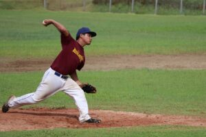 pitcher throwing during pitching lessons